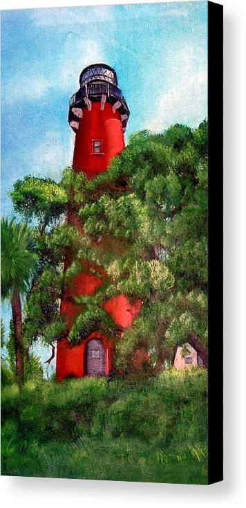 Jupiter Lighthouse Canvas Print featuring the painting Jupiter Inlet Lighthouse by Darlene Green