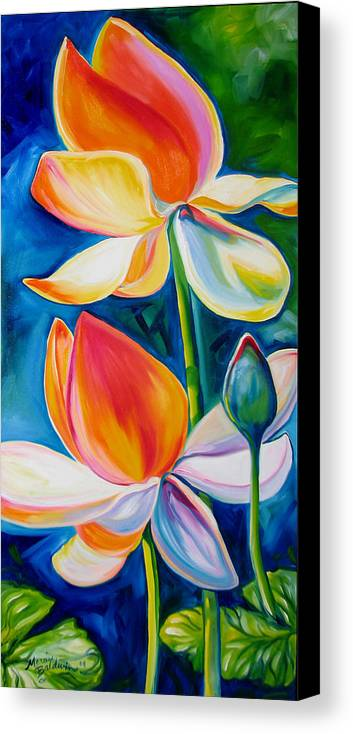 Lotus Canvas Print featuring the painting Lotus Blossoming by Marcia Baldwin