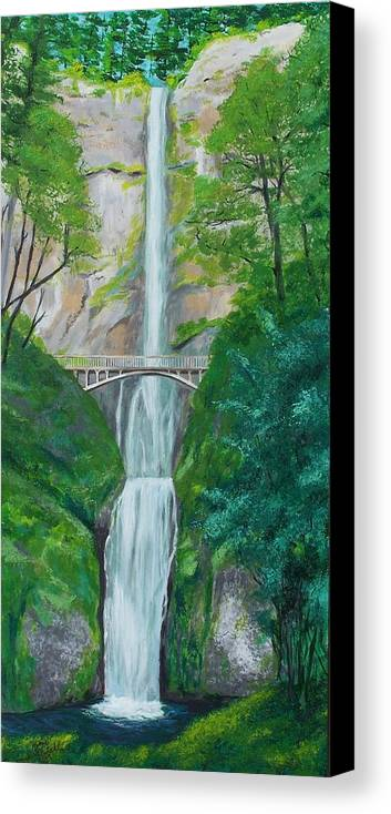 Landscape Canvas Print featuring the painting Multonomah Falls by Gene Ritchhart