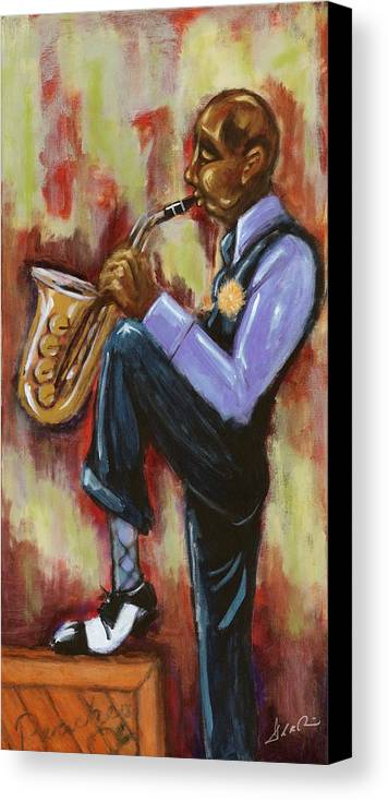 African-american Art Canvas Print featuring the painting Saxman by Daryl Price