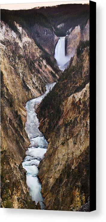 River Canvas Print featuring the photograph Yellowstone River Falls by Chad Davis