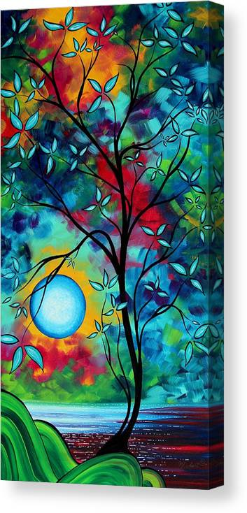 Art Canvas Print featuring the painting Abstract Art Landscape Tree Blossoms Sea Painting Under The Light Of The Moon I By Madart by Megan Duncanson
