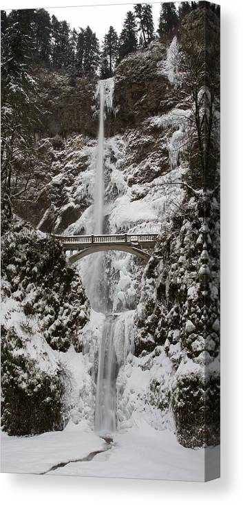 Multnoma Falls Canvas Print featuring the photograph Multnoma Falls In Winter by Eric Mace