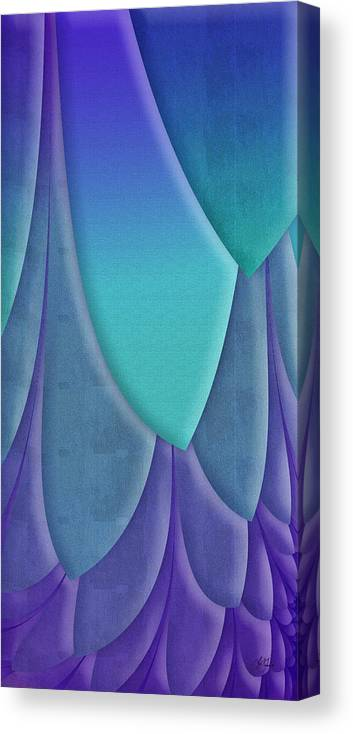 Abstract Canvas Print featuring the digital art Purple Feathers by Lori Grimmett