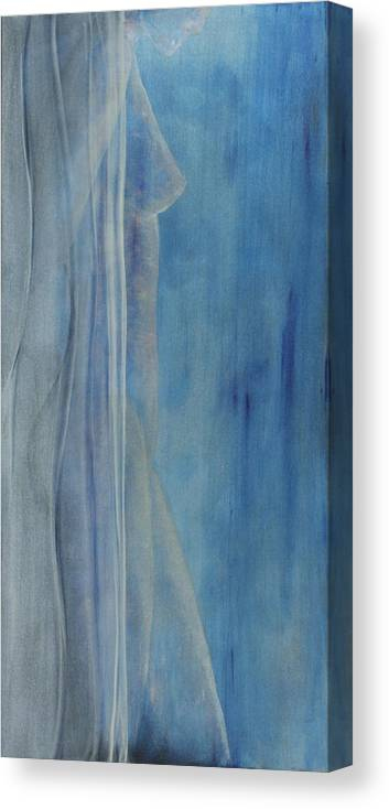 Nude Figurative Female Blue Painting Canvas Print featuring the painting Standing True by Robert Casarietti