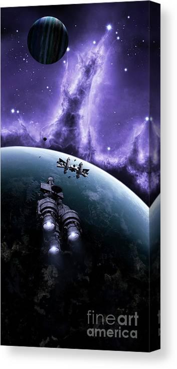 Artwork Canvas Print featuring the digital art The Blockade Runner Treacherous by Brian Christensen