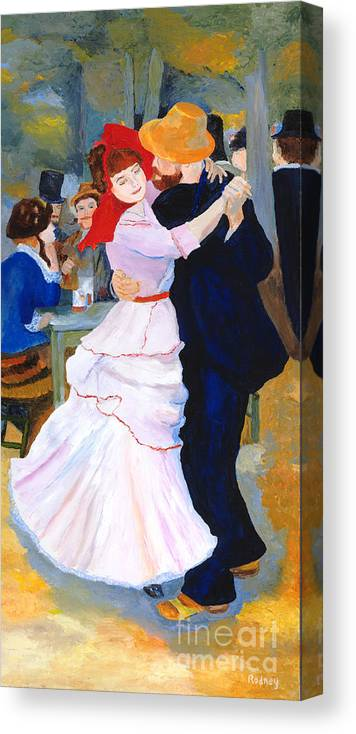 Dance At Bougival Canvas Print featuring the painting Dance At Bougival After Renoir by Rodney Campbell