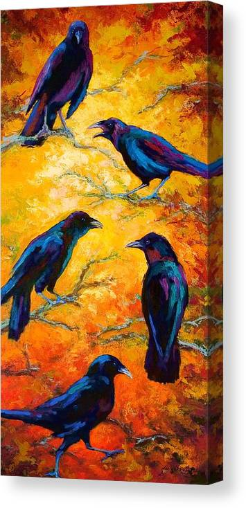 Crows Canvas Print featuring the painting Gossip Column II by Marion Rose