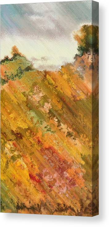 Abstract Canvas Print featuring the digital art Hillside Flowers I by Ronald Bolokofsky