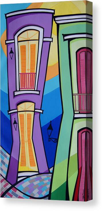 Puerto Rico Canvas Print featuring the painting San Juan Alegre-4 by Mary Tere Perez