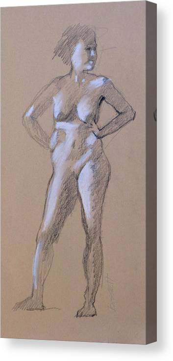 Life Canvas Print featuring the drawing Standing Nude 1 by Robert Bissett
