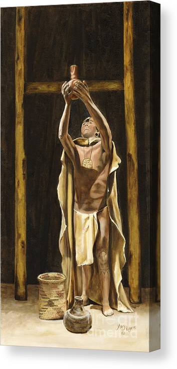 Sepia Canvas Print featuring the painting The Offering by Mary Rogers
