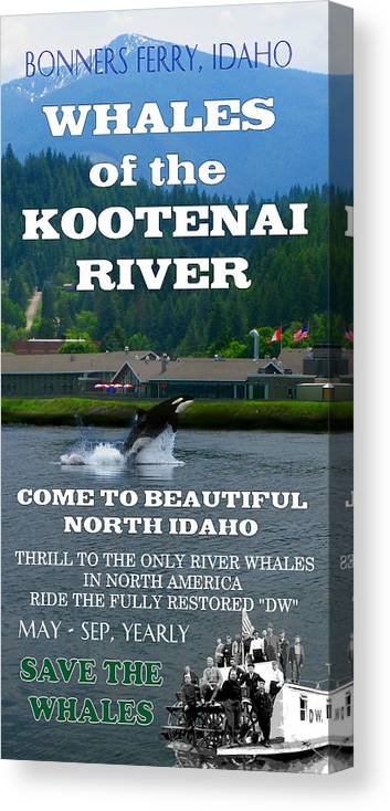 Whale Canvas Print featuring the digital art Whales Of The Kootenai River by Robert Bissett