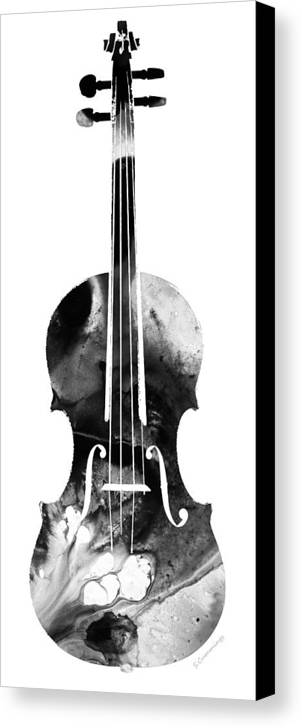 Violin Canvas Print featuring the painting Black And White Violin Art By Sharon Cummings by Sharon Cummings