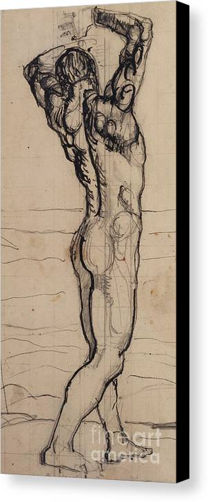 Drawing; Nude; Back View; Stretching; Standing; Full Length; Symbolist; Pen Canvas Print featuring the drawing Male Act  Study For The Truth by Ferdninand Hodler