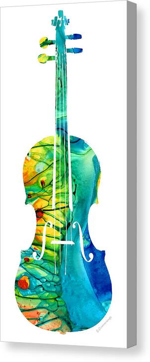 Violin Canvas Print featuring the painting Abstract Violin Art By Sharon Cummings by Sharon Cummings