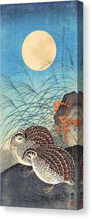 Ohara Canvas Print featuring the painting Top Quality Art - Moon And Quail by Ohara Koson