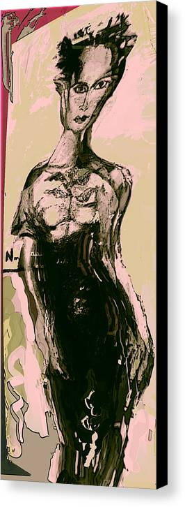 Fashon Canvas Print featuring the painting Model IIi by Noredin Morgan