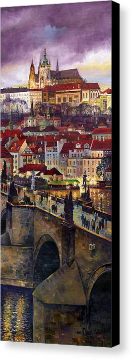Prague Canvas Print featuring the painting Prague Charles Bridge With The Prague Castle by Yuriy Shevchuk