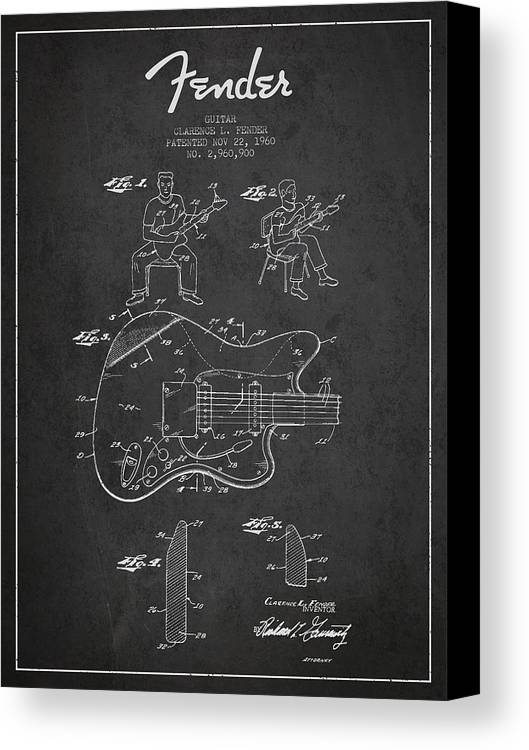 Fender Canvas Print featuring the digital art Fender Guitar Patent Drawing From 1960 by Aged Pixel