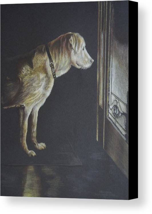 Dog Canvas Print featuring the painting I'll Be Waiting. by Mary Jo Jung