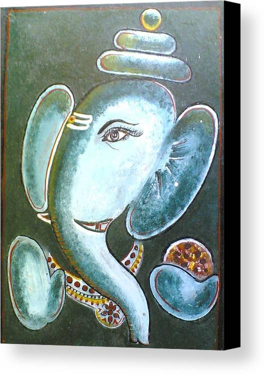 Oil Painting Canvas Print featuring the painting Lord Ganesh by Ranjith M