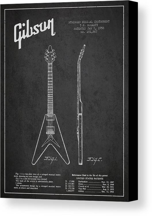 Gibson Canvas Print featuring the digital art Mccarty Gibson Electric Guitar Patent Drawing From 1958 - Dark by Aged Pixel