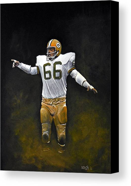Nitschke Canvas Print featuring the painting Packer Pride by William Walts