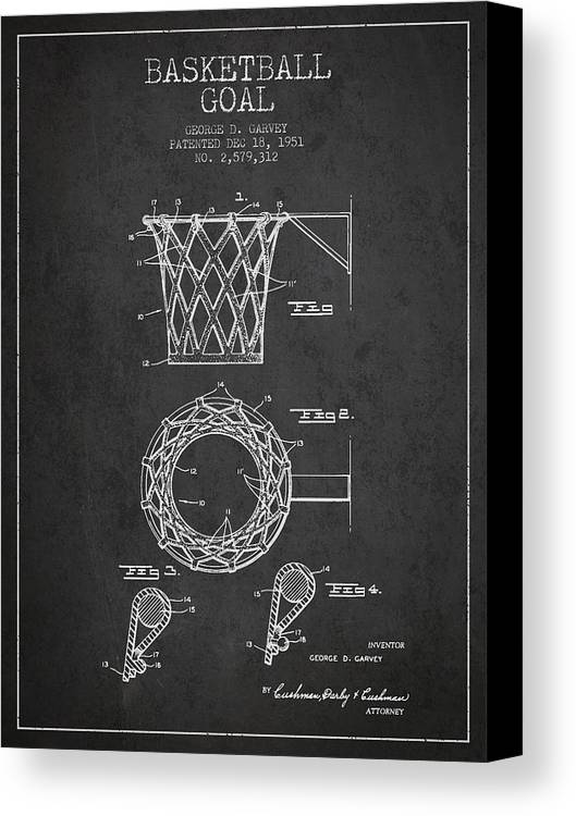Hoop Patent Canvas Print featuring the drawing Vintage Basketball Goal Patent From 1951 by Aged Pixel