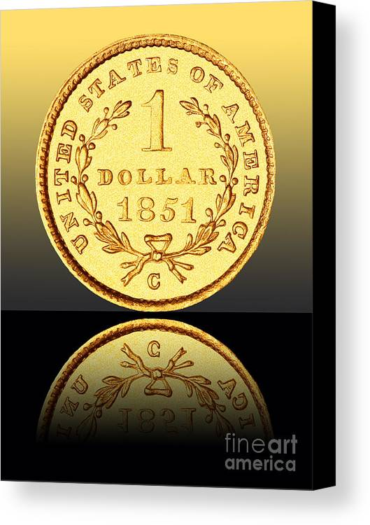 Coin Canvas Print featuring the photograph 1851 1 Dollar Rare Charlotte Gold by Jim Carrell