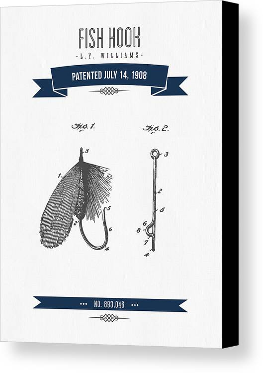 Fishing Canvas Print featuring the digital art 1908 Fish Hook Patent Drawing - Retro Navy Blue by Aged Pixel