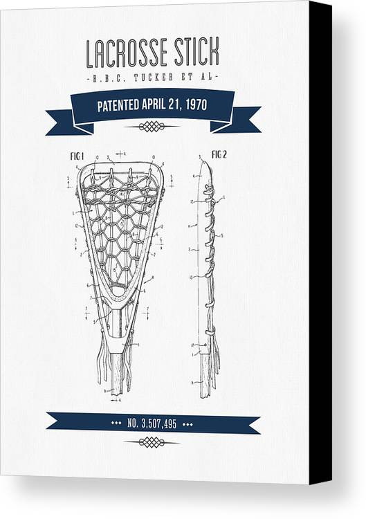 Lacrosse Canvas Print featuring the digital art 1970 Lacrosse Stick Patent Drawing - Retro Navy Blue by Aged Pixel