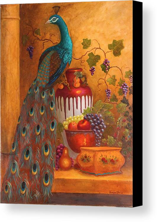 Still Life Canvas Print featuring the painting The Peacock by Jeanene Stein