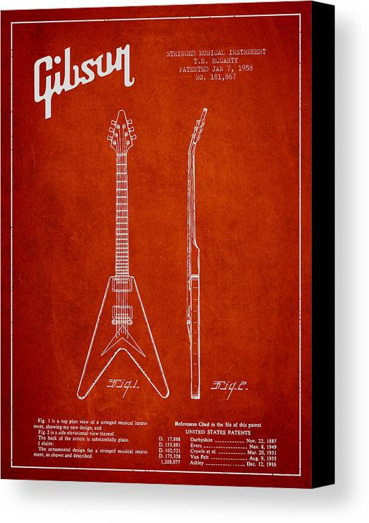 Gibson Canvas Print featuring the digital art Mccarty Gibson Electric Guitar Patent Drawing From 1958 - Red by Aged Pixel