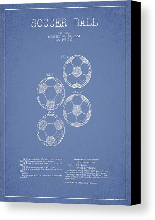 Soccer Canvas Print featuring the drawing Vintage Soccer Ball Patent Drawing From 1964 by Aged Pixel
