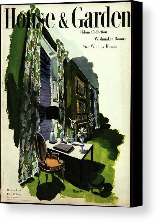 Illustration Canvas Print featuring the photograph A House And Garden Cover Of A Living Room by Tom Martin