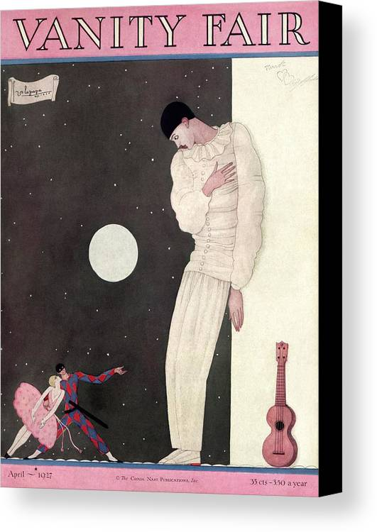 Illustration Canvas Print featuring the photograph A Sad Reveler by Georges Lepape