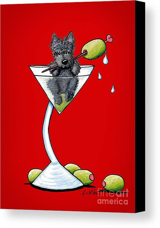 Scottish Martini Canvas Print featuring the drawing A Scottish Martini by Kim Niles