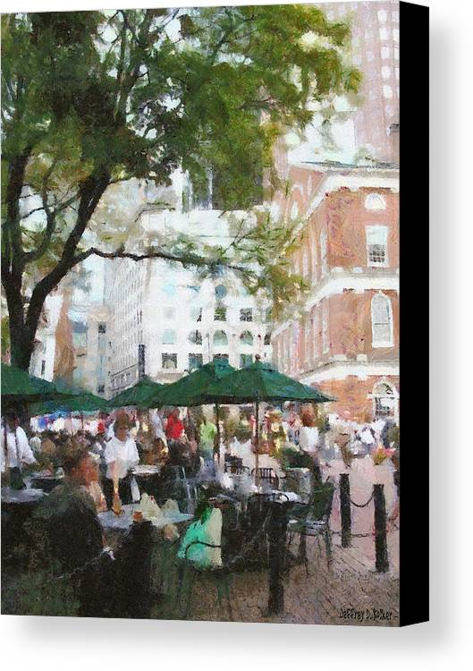Afternoon Canvas Print featuring the painting Afternoon At Faneuil Hall by Jeff Kolker