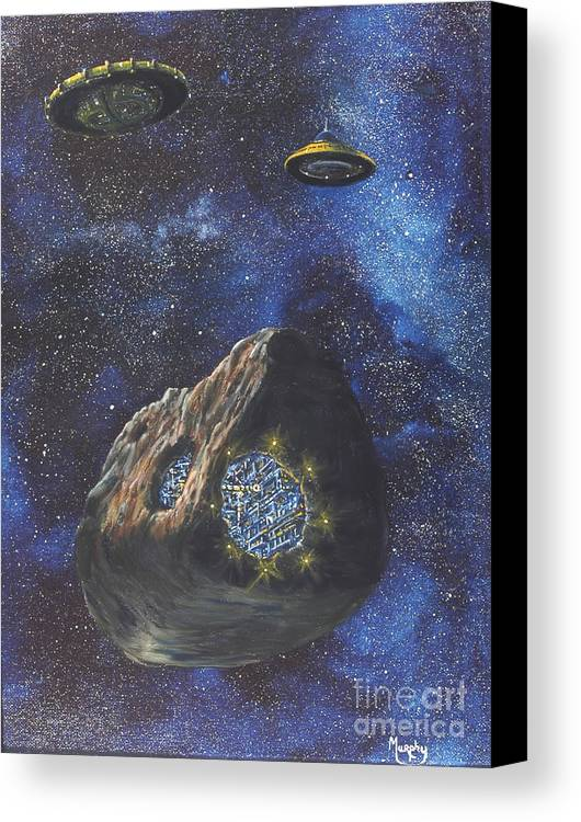 Painting Canvas Print featuring the painting Alien Space Factory by Murphy Elliott