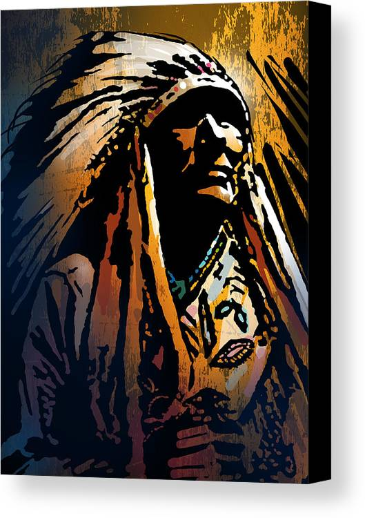 Native American Canvas Print featuring the painting Ancestral Light by Paul Sachtleben