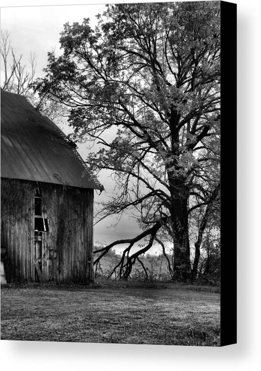 Barn Canvas Print featuring the photograph At The Barn In Bw by Julie Dant