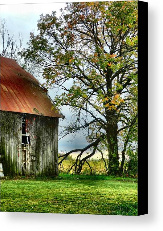 Barns Canvas Print featuring the photograph At The Barn by Julie Dant