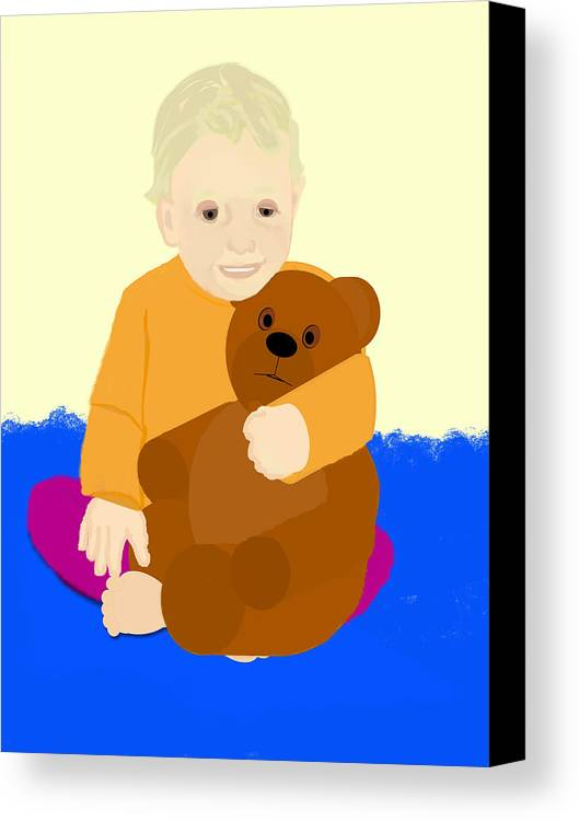 Baby Holding Teddy Bear Canvas Print featuring the painting Baby Holding Teddy Bear by Pharris Art