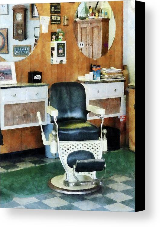 Barber Canvas Print featuring the photograph Barber - Barber Shop One Chair by Susan Savad