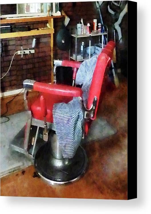 Barber Canvas Print Featuring The Photograph Barber   Red Barber Chair By  Susan Savad
