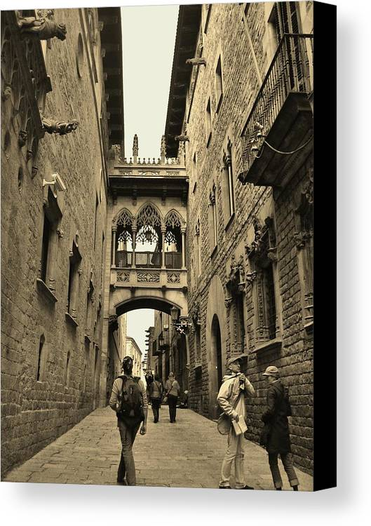 Sepia Canvas Print featuring the photograph Barcelona by Shane Fitzpatrick