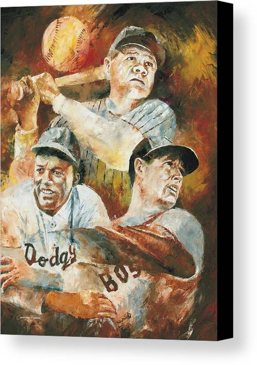 Sports Canvas Print featuring the painting Baseball Legends Babe Ruth Jackie Robinson And Ted Williams by Christiaan Bekker