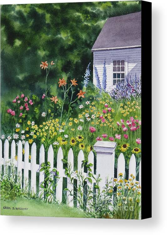 Cottage Canvas Print featuring the painting Bass River Cottage by Karol Wyckoff