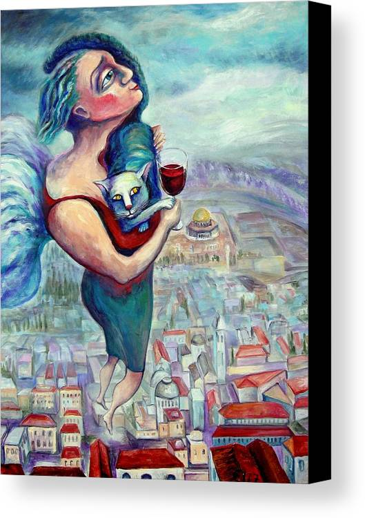 Judaic Canvas Print featuring the painting Blessing Over The Wine by Elisheva Nesis